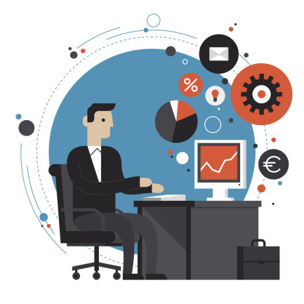 Businessman in the office flat illustration