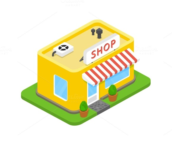 vector eps10 illustration 3d shop on white background