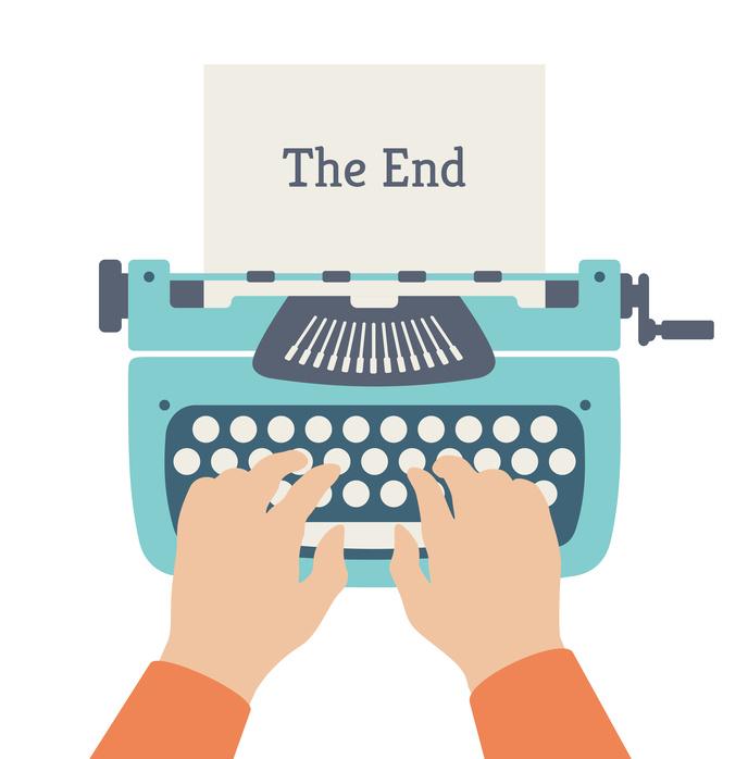 Плоский дизайн стиль современный вектор концепция автора руки, набрав на ручной старинных стильной машинке и в конце заголовка история текста на странице бумаги.  Изолированные на белом фоне