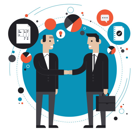 Flat design style modern vector illustration concept of successful financial partnership, business people cooperation agreement, teamwork solution and hand shaking of two businessman. Isolated on stylish background