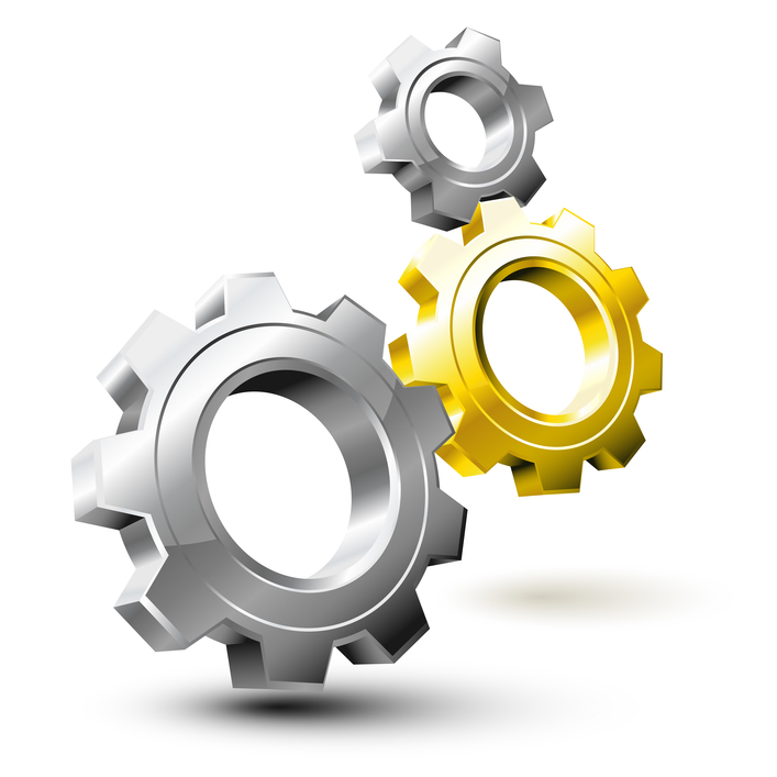 Gear system composed by silver and golden wheels