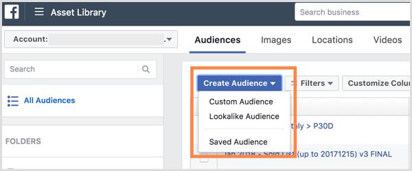 аудитории в Facebook