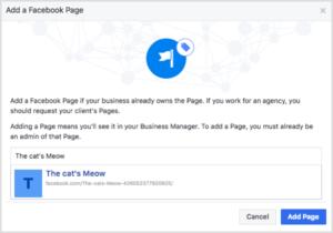 добавление страницы в Facebook